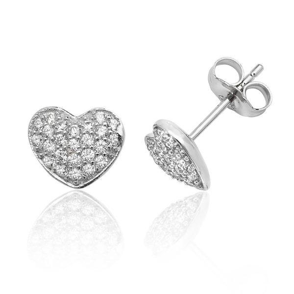 sterling silver heart cz earrings